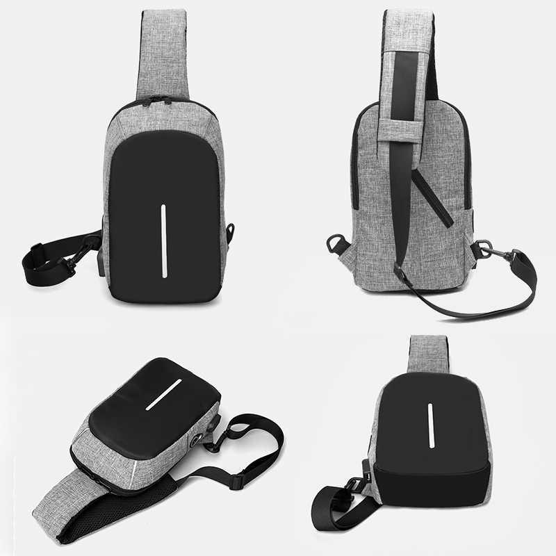 Linha de Áudio USB de Carregamento No Peito dos homens Sacos de Peito Masculino Saco do Mensageiro Dos Homens Sacos de Multi-funcional Saco Crossbody Casuais adolescente SD-013