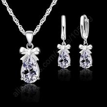 PATICO New Gift 925 Real Sterling Silver White Shining Stone Cubic Zirconia Dangle Earring Pendant Necklace Woman Jewelry Set(China)