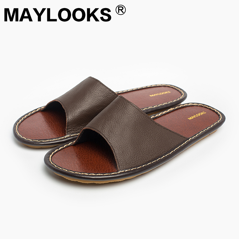 Men's Slippers Spring And Summer genuine Leather Home Indoor Slip Non-slip Slippers 2018 New Hot 8802 new top cover upper case palmrest for dell latitude e7250 0y0t7f y0t7f