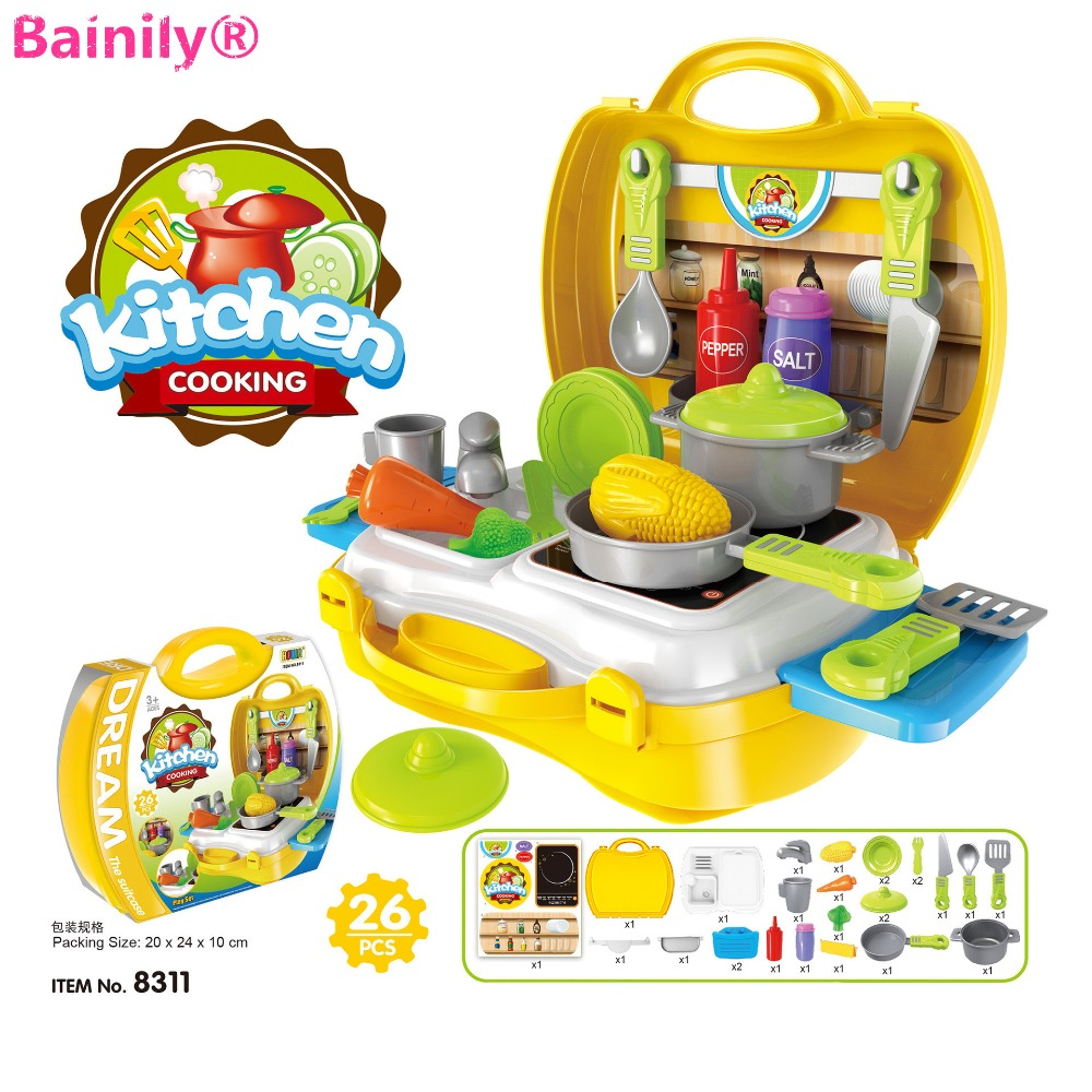 [Bainily]New Arrival 8 Kinds of Kitchen Toys House Simulation Boy&Girl Cooking Cook Baby Tableware Kitchen For Kids education
