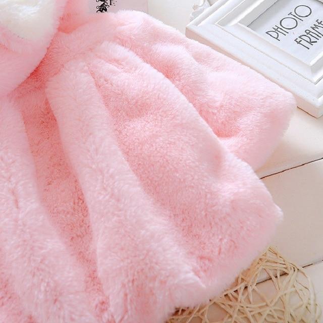 EOICIOI baby girls Jacket autumn winter rabbit ear hooded cotton kids coat children winter clothing kids keeping warm outerwear