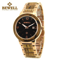 BEWELL Original Grain Zebra Wood Men Watch With Rose Gold Steel Band Top Brand Luxury Analog