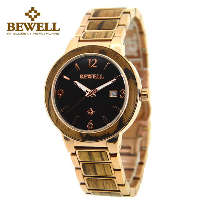 BEWELL Wood Watch Mens Watches Gold Steel Watchband Series Top Brand Luxury 2016 Auto Date Wristwatch Relojes Hombre Clock 1049 relojes luxury brand bewell wood wristwatch men s wood watch