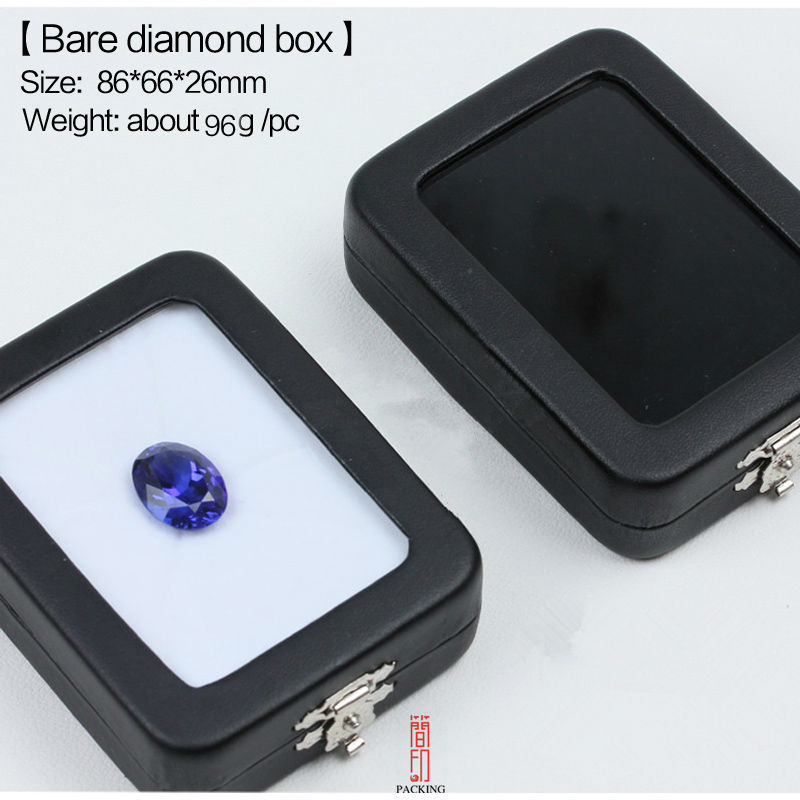 6pcs/lot Gem Stone Box Black Leather Rectangular  Diamond Box  The Gem Display Box The Reversible Black And White Cushion