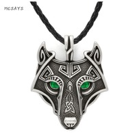 MCSAYS Norse Viking Stainless Steel Jewelry Wolf Head With Green Eye Pendant Punk Dope Necklace Mens