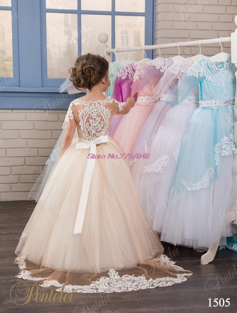 694415a40 Glamorous Lace Appliques Short Sleeves Flower Girl Dresses Beaded communion  dresses Lovely champagne Girls dress F241-in Flower Girl Dresses from  Weddings ...