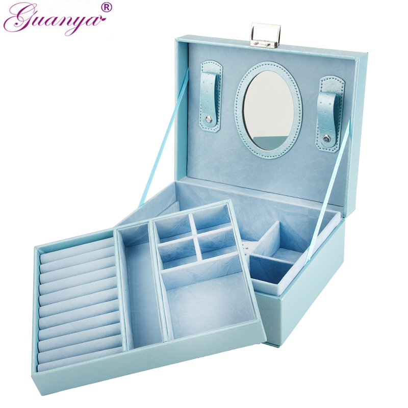 Guanya New 23*9*18.5cm Double Layer Portable Jewelry Case Leather Jewelry Box Organizer Princess Dressing Birthday Gift /Casket