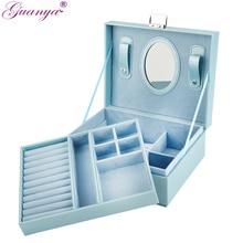 Guanya nuevo 23*9*18,5 cm caja de joyería portátil de doble capa, caja de joyería de cuero, organizador, vestido de princesa, regalo de cumpleaños/ataúd