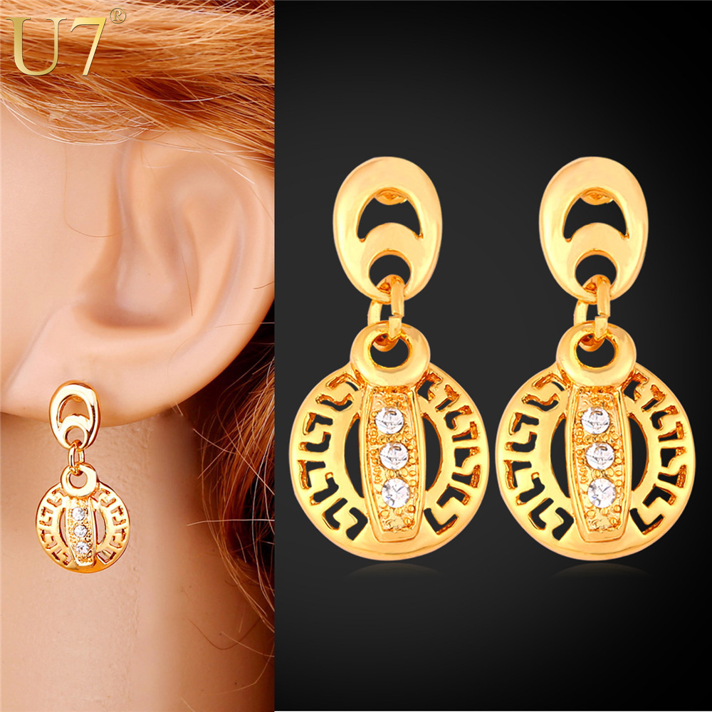 U7 Gold Earrings For Women Wholesale 18k Real Gold Plated New Trendy  Rhinestone Drop Earings Hot Fashion Jewelry For Women E728