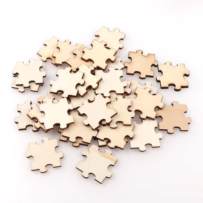 50PC 3cm Blank Wooden Chip Jigsaw Kids Birthday Party Supplies DIY Scrapbook Craft Wedding Decoration Hand-made Graffiti
