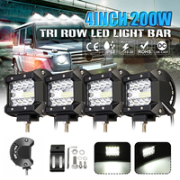 4Pcs 4 Inch 200W LED Tri Row Work Light Bar Spot Flood Driving Lamp Bulb for Jeep Truck Boat Offroad SUV Car