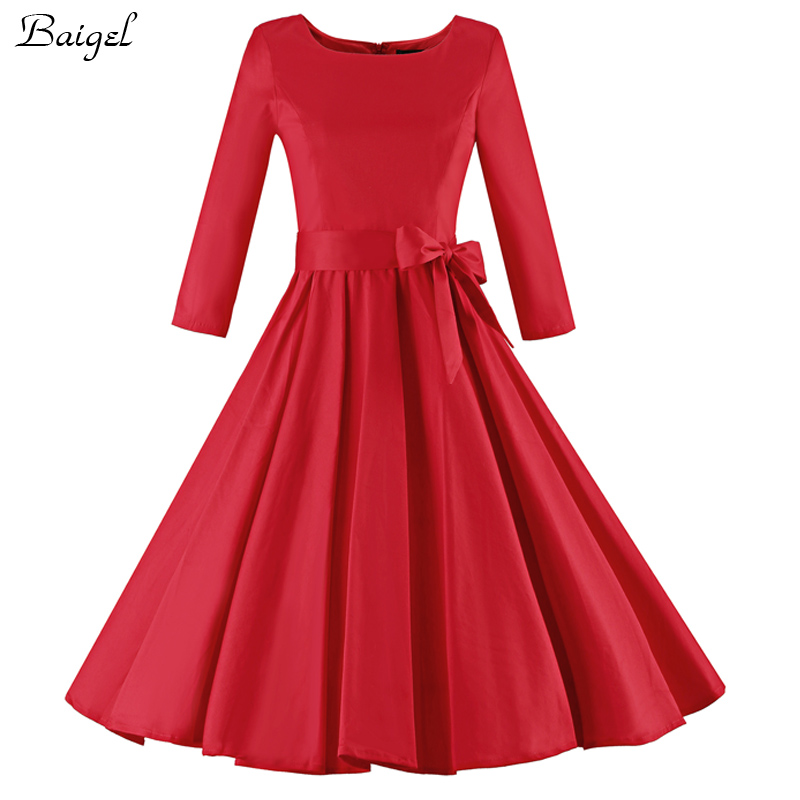 Womens Autumn Winter Vintage Dress Long Sleeve Audrey ...