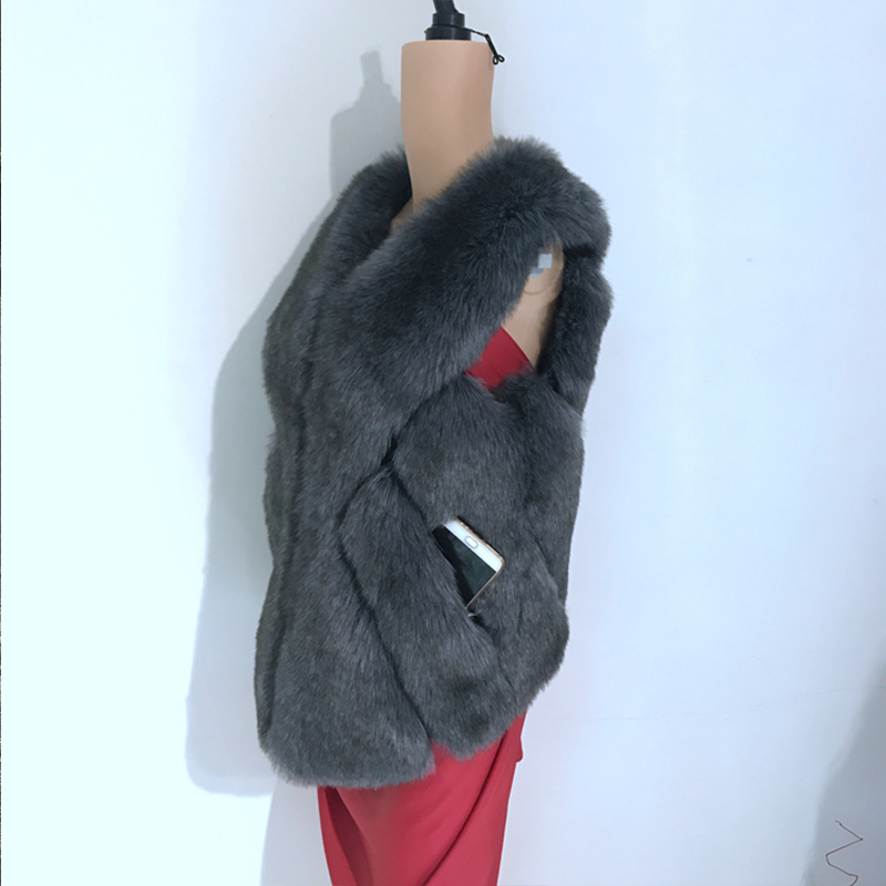 2017 Grey Épais Femmes Renard Chaud Nouveau Mode White Hiver Grey De Manteau Les Outwear Haute Fourrure light khaki dark cou Faux toothpaste Court Gilet V Qualité Pour BwPPdt