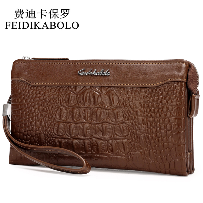 FEIDIKABOLO Fashion 3D Alligator Leather Men Wallets Man Clutch Wallet PU Long Designer Brand Purse Male Money Clip Carteira 128 2017 slim light wallet new brand pu leather short bifold wallets purse vintage designer man carteira money clip scrub cash bag