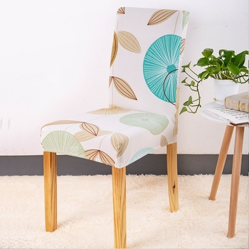 Leaves Print Blue Turquoise Spandex Chair Covers 4 Chair And Sofa Covers