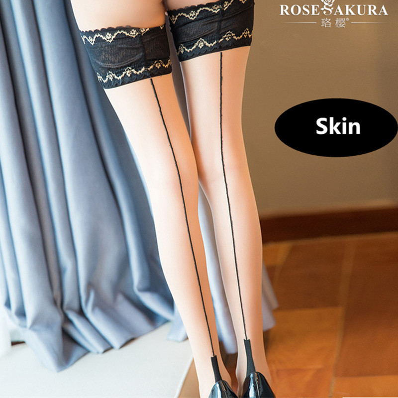 Women's Socks & Hosiery 10d Legs Anti-slip Silicone Exquisite Lace Top Heel Shaped Stockings Vintage Back Seam Womens Stay Up Thigh-high Stockings 915 Stockings