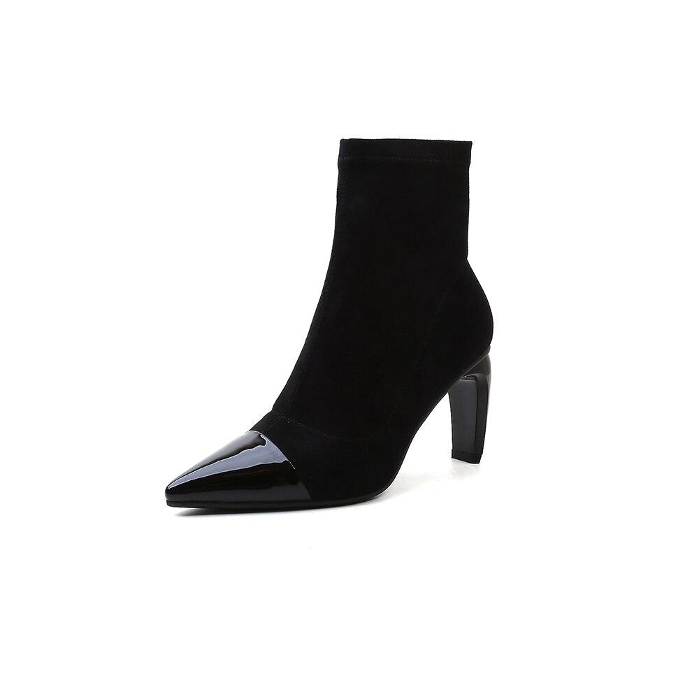 5a8b7d6d8894d9 Dames Hauts Pointu Style black Talons Femmes Cm Étrange D'orteil 8 Furtado Bottines  Bottes Chaussettes 2018 Chaussures ...