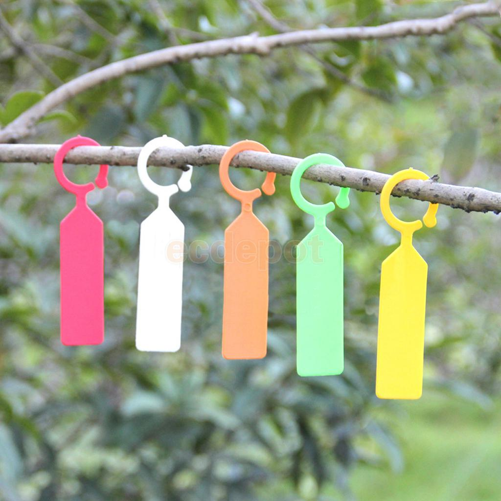 100pcs PP Greenhouse Gardening Plant Ring Hanging Collar Tag Label 5 Colors ...