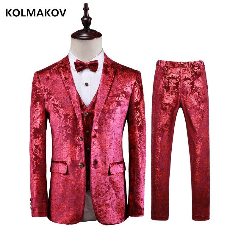 (Jacket+Pant+Vest)  Slim Fit Suit Men Wedding Suit For Men Classic Business Slim Fit Mens Suits With Pants Embroidery Men's