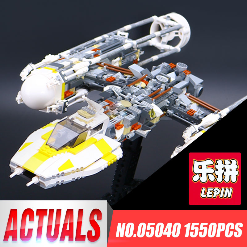 Lepin 05040 1550Pcs Star Series Wars Y Gifts wing Attack Toys Star fighter Building Block Bricks Children Educational with 10134 lepin 05040 star series wars y star wing attack fighter building assembled block brick diy toy educational gift compatible 10134