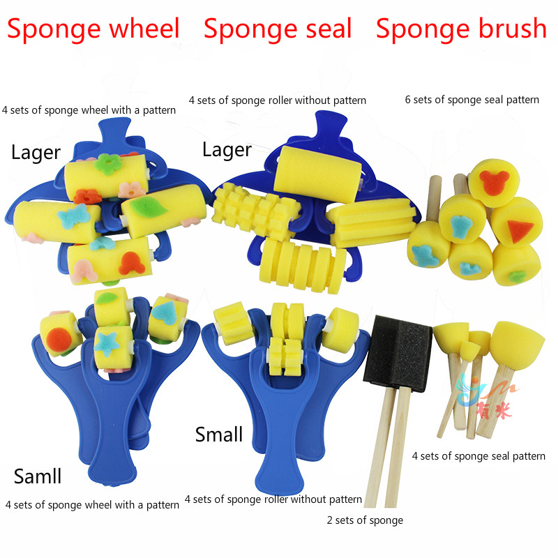 Free shipping sponge brush DIY children graffiti painting sponge roller 4 mounted sponge seal 6 packs / 4 packs graffiti tool graffiti painting educational diy toy for children