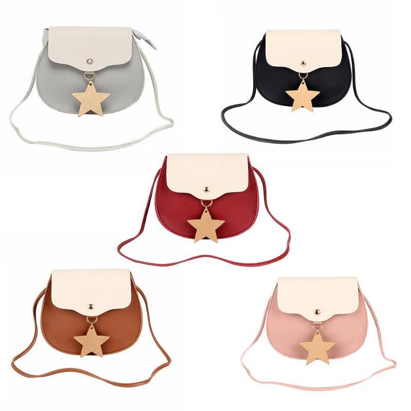 Cute Flap Sequined Star Attached Women PU Leather Shoulder Crossbody Bags Casual Patchwork Messenger Bags Bolsa Feminina
