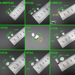 Engranaje recto de plástico 20 unids/lote, engranajes de 0,3 M, 0,4 M, 0,5 M, 0,3, apertura de módulo 0,5, 0,8 MM, 1MM, 2MM, 7, 8, 9, 10, 11, 12, 13, 14, 15, 16, 18 dientes