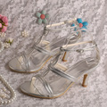 Wedopus MW300 Women Silver PU High Heel Summer Party Sandals