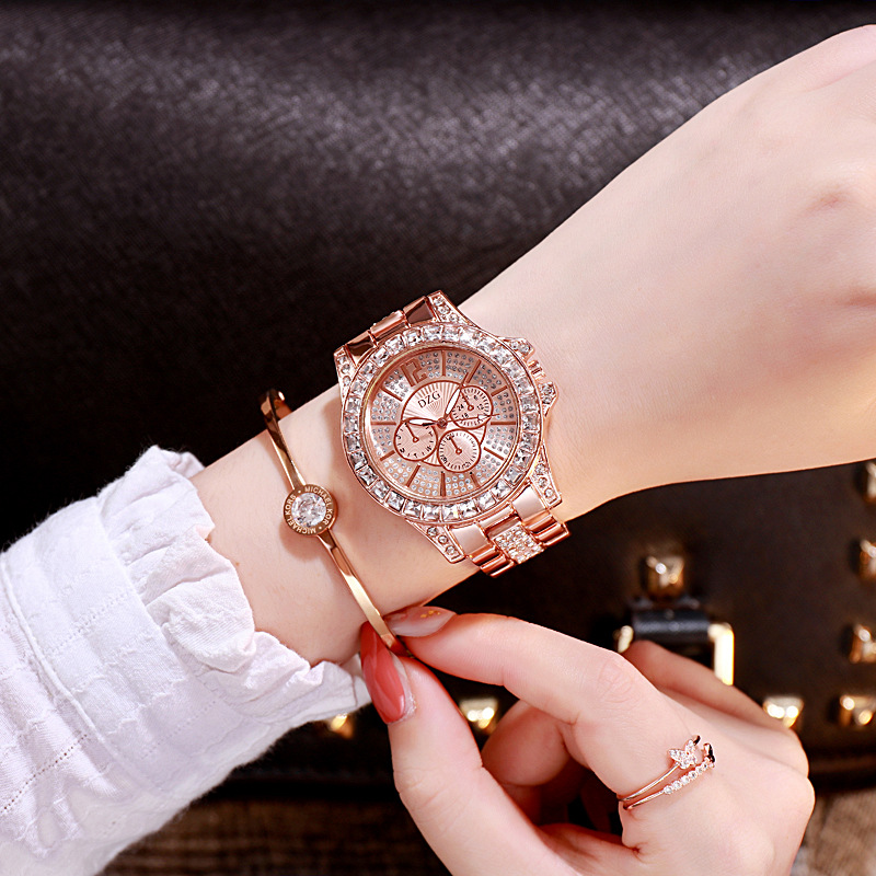 Luxury Diamond Women Watches Rhinestone Female Wristwatch Three Dials Decoration Waterproof Clock Relogio Feminino Montre Femme