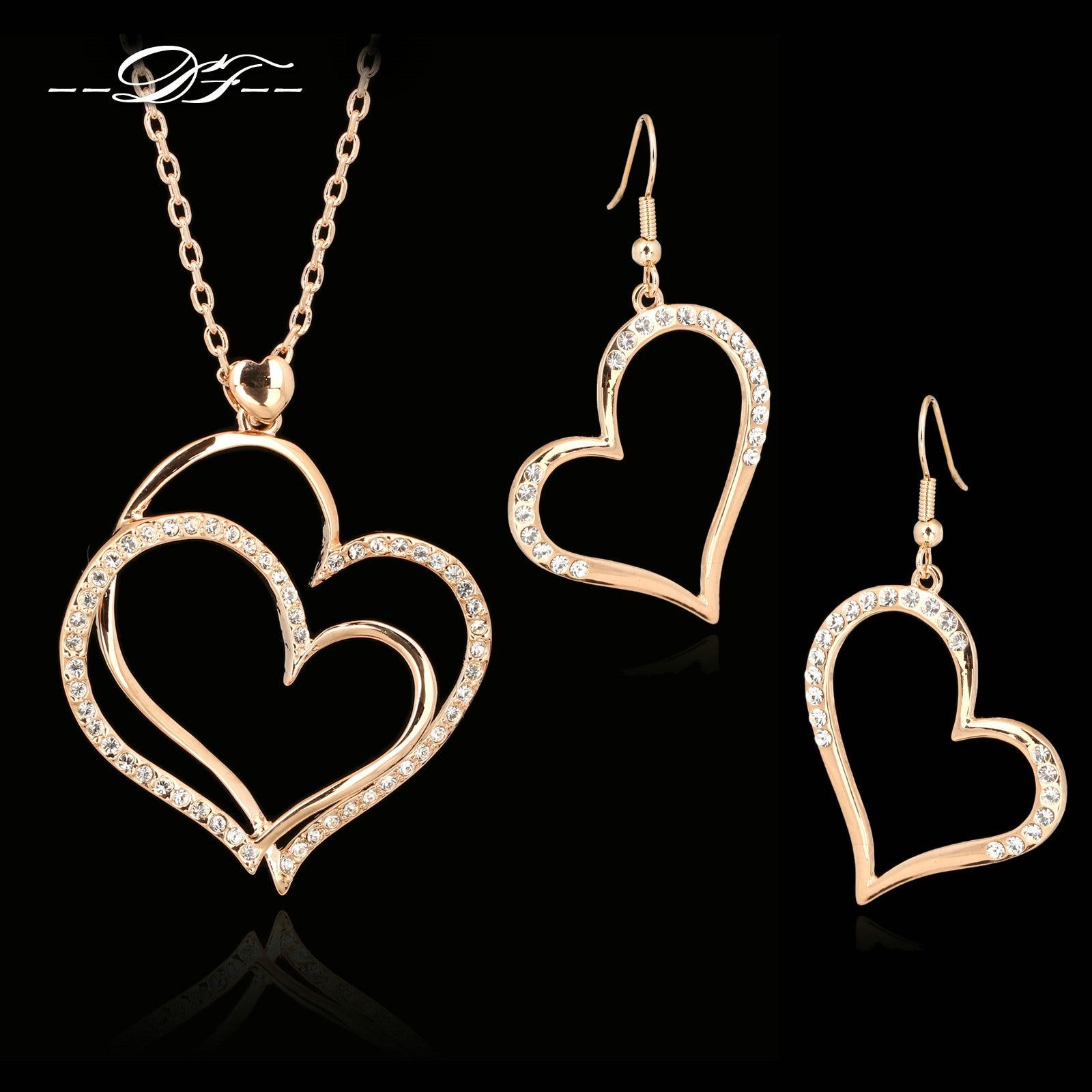 e6673c19d754 DFS271 exagerados grande amor corazón collares y colgantes pendientes de  gancho de oro Color de rosa Zirconia cúbico boda conjuntos de joyas