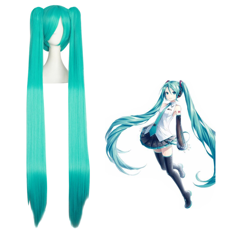 Hatsune Miku Anime Costume Cosplay 120cm Straight Green Blue Wig Halloween Costumes Party Ladies Ponytail Hair Wig + Wig Cap