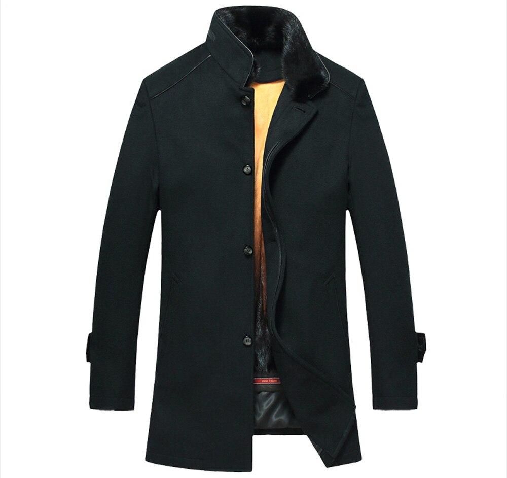 Mens Alinhado Pele Casaco de Inverno Mink Luxo Casaco De Pele Genuína Para Os Homens Longo Casaco Forrado de Pele De Vison Preto para Os Homens