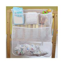 Mesh Baby Crib Nappy Organizer Cheap Organizer Baby Bed Newborn Bedding Kids Crib Storage Bag Bed Diaper Storage Organizer Baby(China)