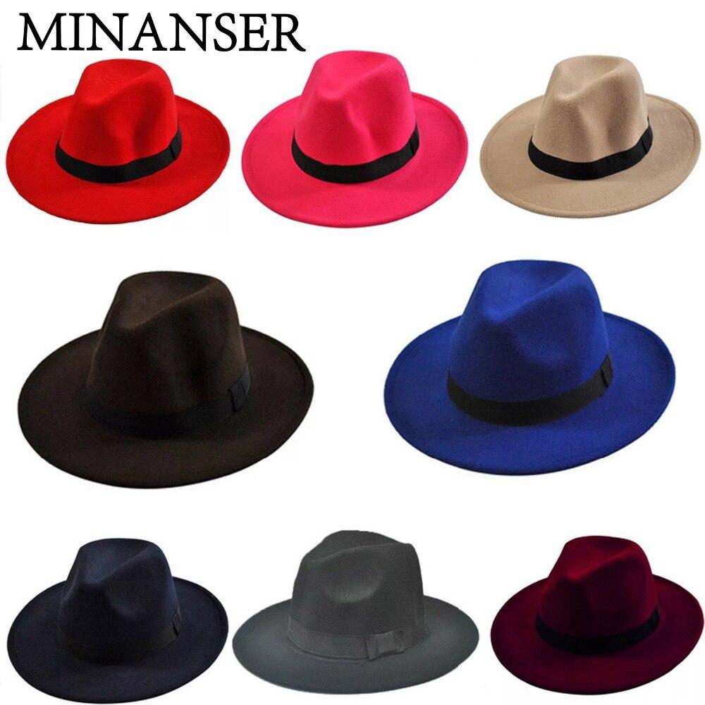 a5f502babeb Large Brim Fedora Men Women Fashion Jazz Hat Autumn Winter Trilby Wool Felt  Hats for Women