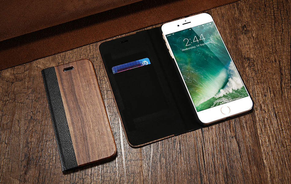 DOEES Real Wood Leather Case For iPhone 6 6S 7 7 Plus Cover Stand Holder Card Slot Vintage Cover For iPhone 6 7 Flip Wallet Case (10)