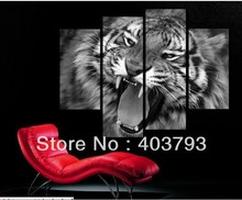 buy at disscount price Modern Abstract  Oil Painting on canvas 4pcs tiger landscape (no framed) free shipping