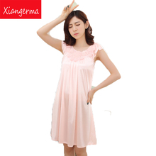 Sexy Lingerie Female summer thin section lovely princess nightgown ice silk big yards Neck Sleeveless tracksuit free shipping