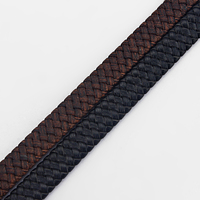 1 Meter Black Brown 10x3mm Flat Braided Bolo Real Genuine Leather Cord For Bracelet Necklace DIY