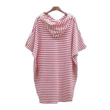 2017 New spring summer Women t shirt Fashion Loose Striped hooded T-shirt casual Long Tops s189