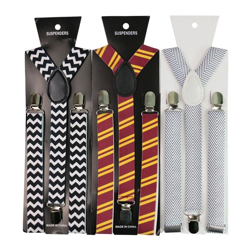 Winfox 2.5cm Wide Black White Men`s Women Striped Plaid Print Suspender Elastic Slim Braces Y-Back Suspenders