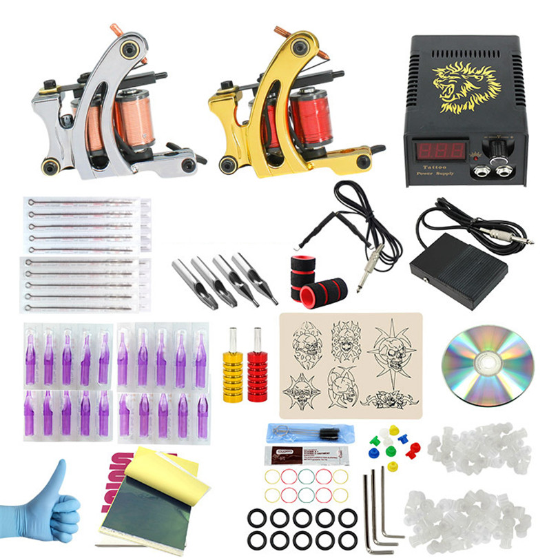 Complete Tattoo Kit 2pcs Coil Tattoo Machine Guns Power Supply For Liner And Shader Gun Tattoo Artists Tattoo Needles Steel Tips 4 pcs liner shader tattoo rotary motor gun machine kit set swashdrive