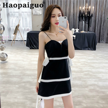 Big Size Contrast Evening Sexy Party Dress Women Spaghetti Strap Mini Black with Bow  Summer Wrap Bodycon 2019