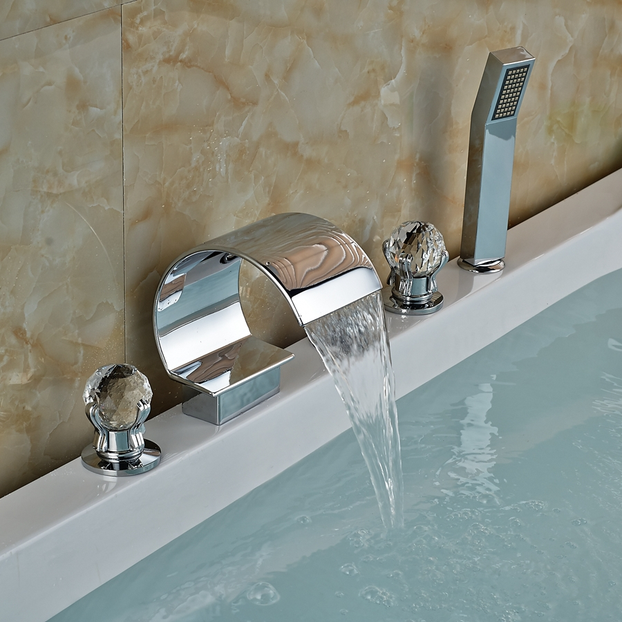 Polished Chrome Brass Bathroom Shower Faucet Tub Sink Mixer Tap Deck ...