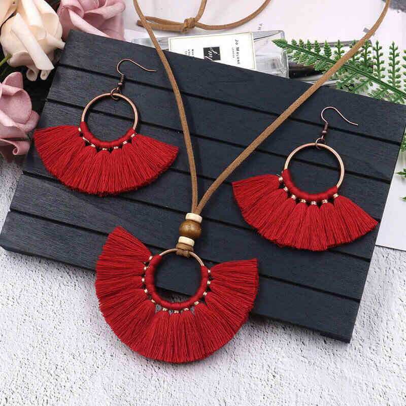 Bohemian Red Blue Jewelry Set For Women Long Tassel Pendant Necklace Earrings Sets Leather Fringe Necklace Vintage Jewellery Set