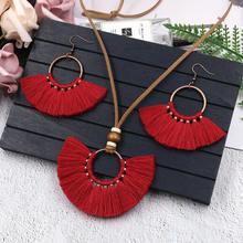 Bohemian Red Blue Jewelry Set For Women Long Tassel Pendant Necklace Earrings Sets Leather Fringe Ne