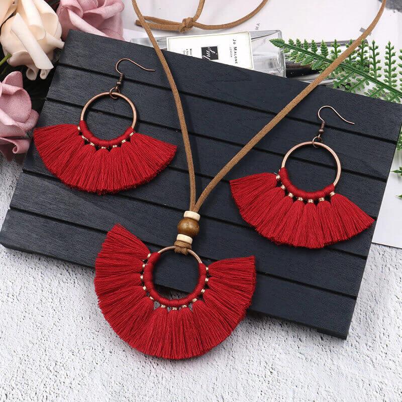 Bohemian Red Blue Jewelry Set For Women Long Tassel Pendant Necklace Earrings Sets Leather Fringe Necklace Vintage Jewellery Set