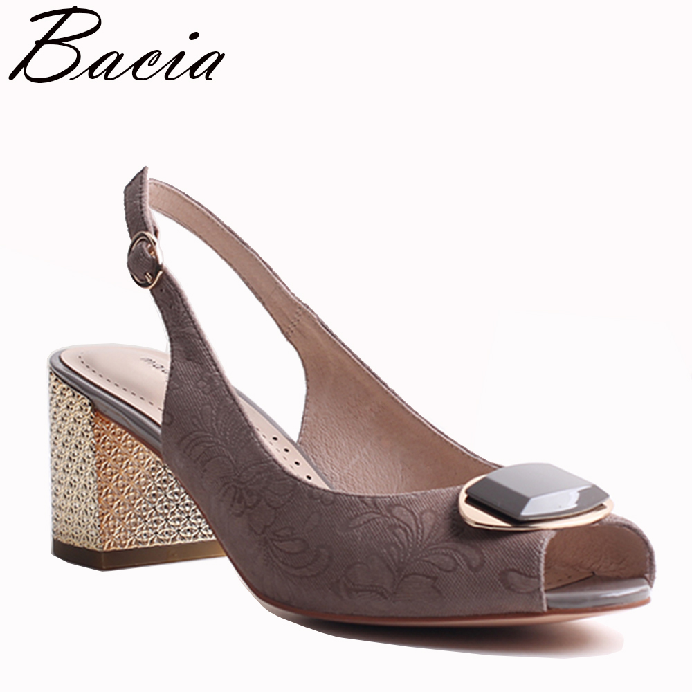 Bacia SheepSuede Sandals 2017 New High Thick Heels Pumps Genuine Leather Spring Summer Buckle Strap Women Shoes35-41 SizeVXB028