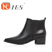 KHJGS Black Fashion 2016 Women Ankle Boots Thick Heels Women Martin Boots Sexy Vintage Rivets High Thick Heels  Boots Shoes