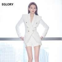 High Quality New Fashion Coat Jacket Autumn Winter 2018 Outerwear Women Single Button Long Sleeve Woolen Jacket Lady Blazers