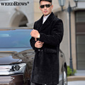 Men's Shearling Trench Coat Genuine Sheep Sheared Outerwear For Winter Warm Black Single Breasted X-Long Fur Clothing For Men